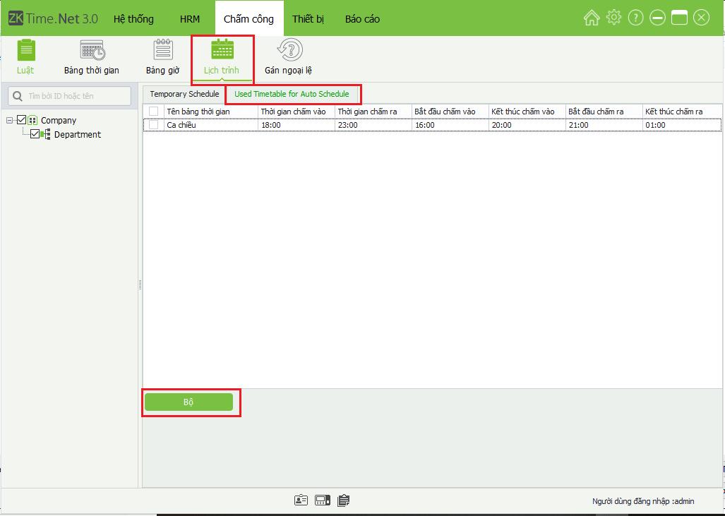 Cài đặt lịch trình trên phần mềm ZKTime net 3.0