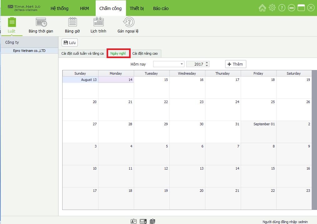 Cài đặt ngày nghỉ lễ trong phần mềm ZKTime net 3.0
