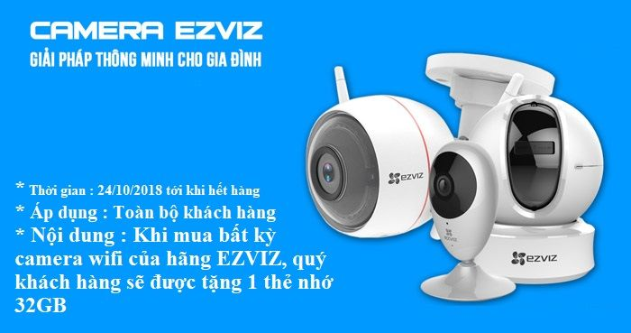 Khuyến mãi mua camera EZVIZ tặng nhớ 32GB