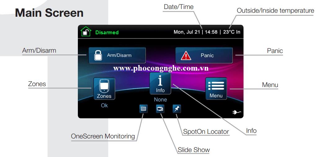 Mô tả tổng quan màn hình Paradox TM50