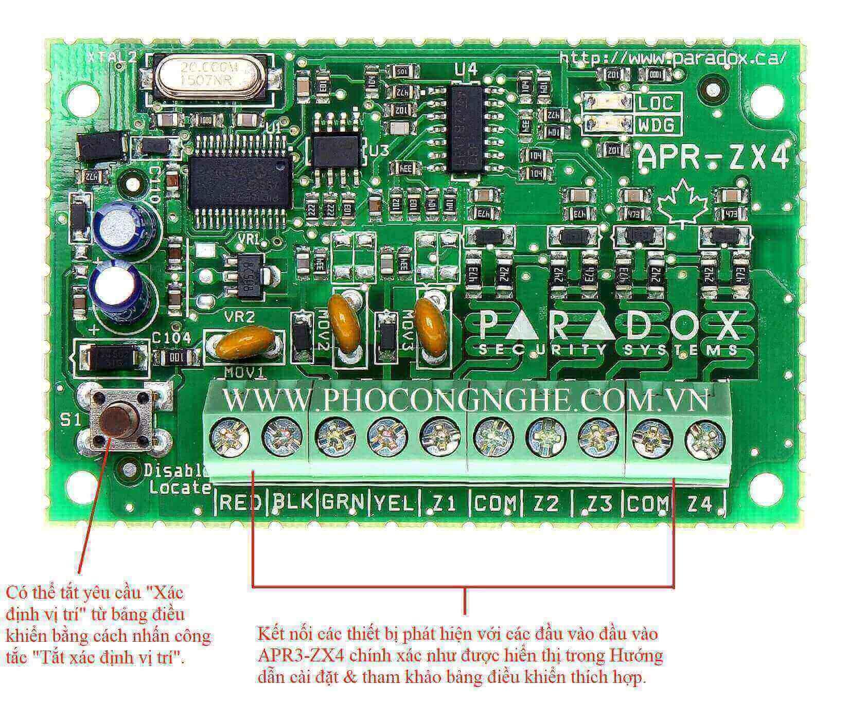 Module mở rộng 4 zone có dây Paradox ZX4