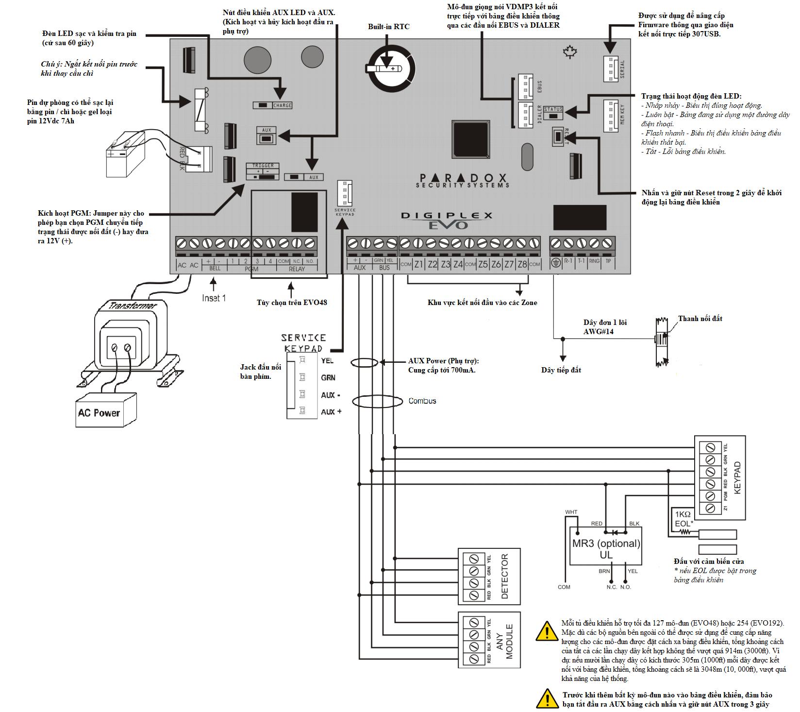 Hướng dẫn đấu dây tủ báo động Paradox EVO192