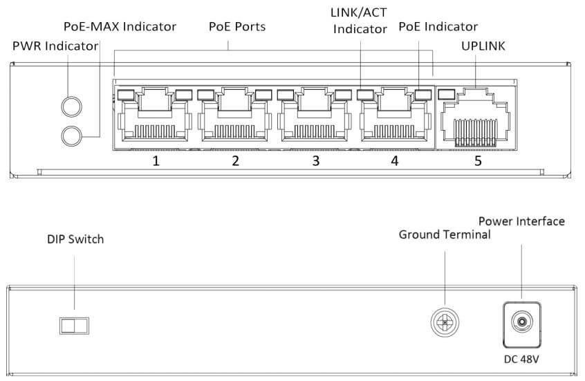 Chi tiết Switch PoE 4 Port Hikvision DS-3E0105P-E/M(B)