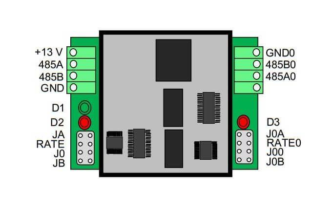 Sơ đồ các Jum đấu nối dây của Techfass REP 485