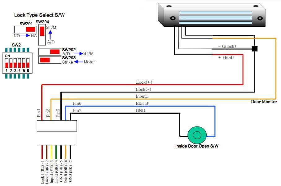 Cách đấu dây khóa từ hút cho máy chấm công VIRDI AC 4000