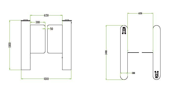Kích thước cổng tripod kiểm soát vào ra ZKTeco SBTL5000