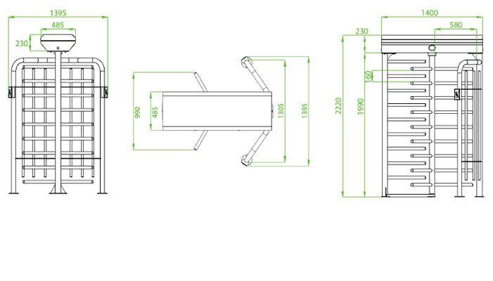 Kích thước Cổng xoay Full Height kiểm soát vào ra ZKTeco FHT2300